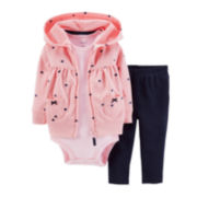 Carter's® 3-pc. Hoodie, Bodysuit and Pants Set – Girls newborn-24m