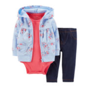 Carter's® 3-pc. Hoodie, Bodysuit and Pants Set - Girls newborn-24m
