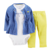 Carter's® 3-pc. Cardigan, Bodysuit and Pants Set – Girls newborn-24m