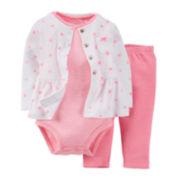 Carter's® 3-pc. Cardigan, Bodysuit and Pants Set – Girls newborn-24m