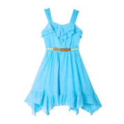 by&by Girl Sleeveless Belted Ruffle Dress – Girls 7-16