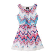 by&by Girl Sleeveless Chevron Chiffon Dress – Girls 7-16