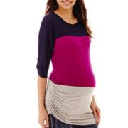 Maternity Dolman-Sleeve Colorblock Ruched-Side Tee