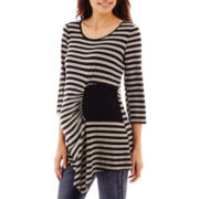 Maternity Elbow-Sleeve Striped Ruched Side-Patch Tunic