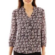 Liz Claiborne® 3/4-Sleeve Print Popover Blouse - Petite