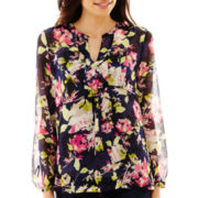 Liz Claiborne® Long-Sleeve Print Tunic Blouse with Cami - Petite