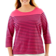 Liz Claiborne® 3/4-Sleeve Button-Back Tee - Plus