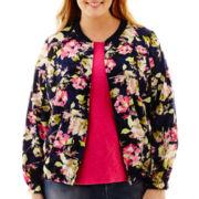 Liz Claiborne® Long-Sleeve Floral Bomber Jacket - Plus