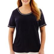 Liz Claiborne® Short-Sleeve Tipped Blouse - Plus