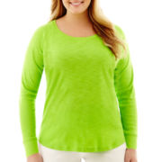 Liz Claiborne® Long-Sleeve Slub Knit Tee - Plus