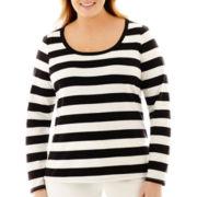 Liz Claiborne® Long-Sleeve Striped Tee - Plus