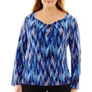 Liz Claiborne® 3/4-Sleeve Cowlneck Top - Plus