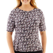 Liz Claiborne® Elbow-Sleeve Peplum Print Top - Plus