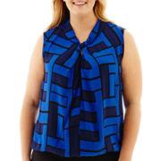 Liz Claiborne® Sleeveless Twist-Neck Print Blouse - Plus