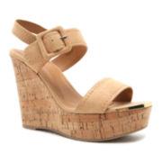 Qupid Kelsey Sling Wedge Sandals