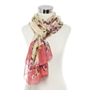 Big Buddha Floral Dipped Oblong Scarf