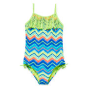 Angel Beach Chevron Flounce Swimsuit - Girls 7-16