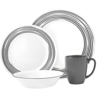 jcpenney.com | Corelle® Boutique™ Brushed-Silver 16-pc. Round Dinnerware Set