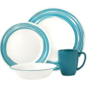 Corelle® Boutique™ Brushed-Turquoise 16-pc. Round Dinnerware Set
