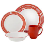 Corelle® Boutique™ Brushed-Red 16-pc. Round Dinnerware Set