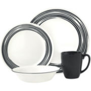 Corelle® Boutique™ Brushed-Black 16-pc. Round Dinnerware Set