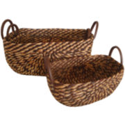 Oval Water Hyacinth Set of 3 Baskets