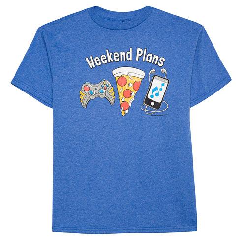 Boys Short Sleeve Oneliner Weekend Plans T-Shirt-Big Kid