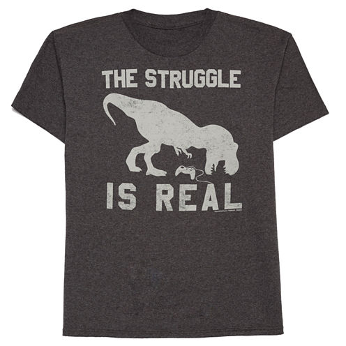 Boys Short Sleeve Oneliner Real Struggle T-Shirt-Big Kid