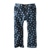 OshKosh B'gosh® Floral-Print Denim Cropped Pants - Girls 2t-4t