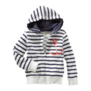 OshKosh B'gosh® Striped Anchor Hoodie - Girls 5-6x