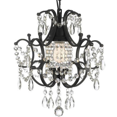 Gallery Versailles 1-Light Wrought Iron and Crystal Chandelier