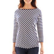 Liz Claiborne 3/4-Sleeve Striped Drop-Shoulder Tee