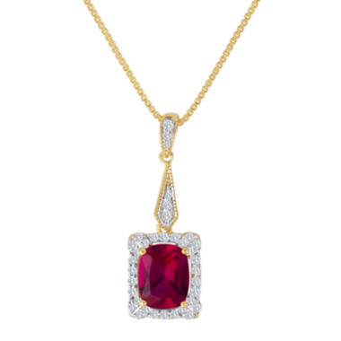 jcpenney.com | Lab-Created Ruby & White Sapphire 14K Gold Over Silver Pendant Necklace