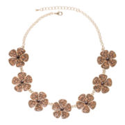 Jardin Brown Crystal Gold-Tone Flower Necklace