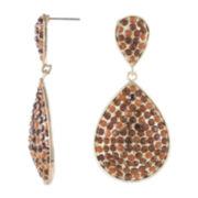 Jardin Brown Crystal Double Teardrop Earrings