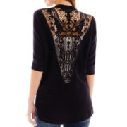 It's Our Time 3/4-Sleeve Open-Front Crochet-Back Sweater