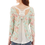 Almost Famous 3/4-Sleeve Knotted Racerback Layered Top