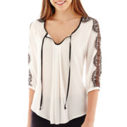 by&by 3/4-Sleeve Lace-Trim Keyhole Peasant Top