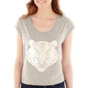 Olsenboye® Cap-Sleeve Tiger Face Tee