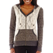 Miss Chievious Long-Sleeve Crochet-Front Hoodie