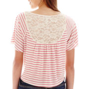 Arizona Short-Sleeve Lace-Back Stripe Tee
