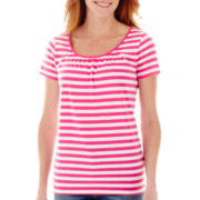 St. John's Bay® Short-Sleeve Ruched Scoopneck Tee