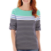 St. John's Bay® Roll-Tab Stripe Boatneck T-Shirt