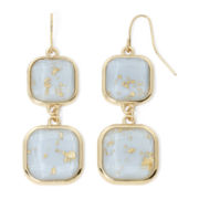 Mixit® Blue Speckled Stone Gold-Tone Drop Earrings