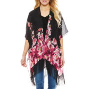 Pink and Red Floral Tapered Fringe Kimono