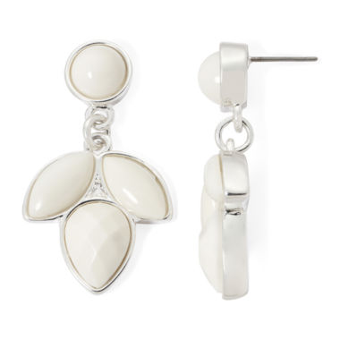 jcpenney.com | Liz Claiborne® Silver-Tone White Stone Cluster Drop Earrings
