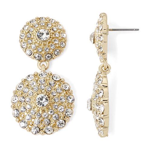 Monet® Gold-Tone Crystal Double Drop Earrings
