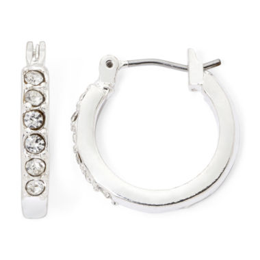 jcpenney.com | Liz Claiborne® Silver-Tone Crystal Small Hoop Earrings