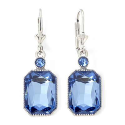 hallmarked diamond drop multi stone gold blue earrings white product