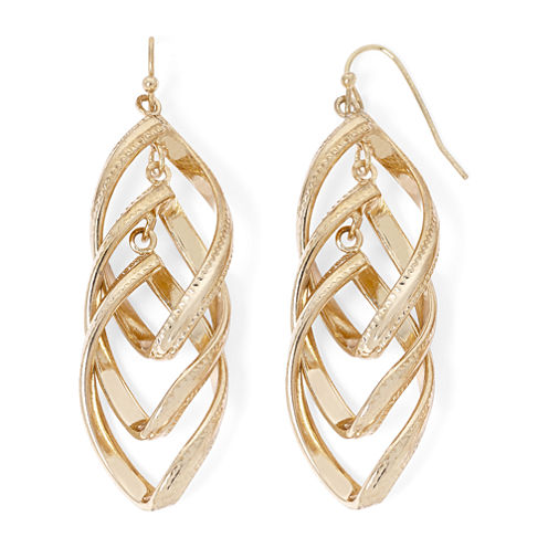 Liz Claiborne® Gold-Tone Twisted Orbital Drop Earrings